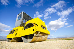 Roller compactor at road construction Royalty Free Stock Images