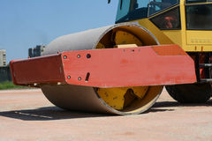 Roller on a construction site. Photo was taken on a nice sunny day. Time: about noon. Photo was taken on a construction site near football stadium Spartak stock photo