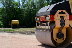 Roller on a construction site Royalty Free Stock Photo