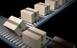 Roller Conveyor With Boxes Stock Images