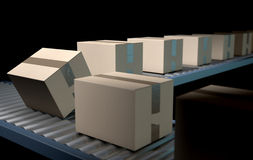 Roller Conveyor With Boxes Stock Photos