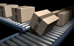 Roller Conveyor With Boxes Stock Photo