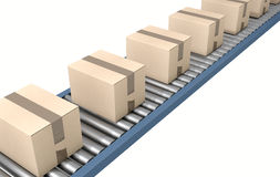 Roller Conveyor With Boxes Royalty Free Stock Photography