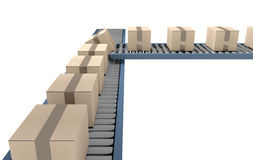 Roller Conveyor With Boxes Stock Image