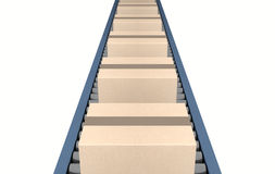 Roller Conveyor With Boxes Royalty Free Stock Photo