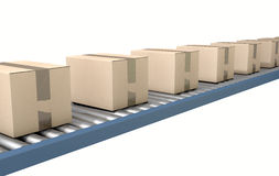 Roller Conveyor With Boxes Royalty Free Stock Image