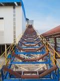 Roller conveyor. Construction roller conveyor in factory Stock Image