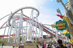 Roller coster at Universal Studios Singapore Royalty Free Stock Images