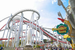 Roller coster at Universal Studios Singapore 15 OCT 2016 Stock Photography