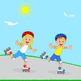 Roller d'enfants, de garçon et de fille Photos stock