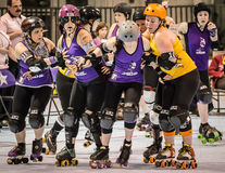 Roller Derby Girls Jamming Stock Images