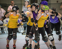 Roller Derby Girls Jamming Stock Photography