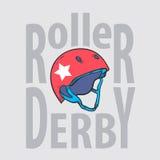 Roller derby helmet typography, t-shirt graphics. Vectors Stock Images