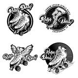 Roller Derby Monochrome Emblems Stock Photos