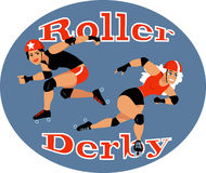 Roller derby. Two roller derby players, EPS 8 vector illustration Royalty Free Stock Images