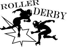 Roller derby. Two roller derby players, EPS 8 vector silhouette illustration, no white objects Royalty Free Stock Photos