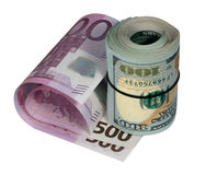 Roller of dollars and euro. On a white background royalty free stock image