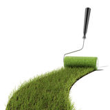 Roller draws  the green grass road Royalty Free Stock Images