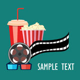 Roller film and movie stuff flat icon. Popcorn and drink. Film strip border. Cinema movie night icon in flat design style. Bright background.roller film and Stock Photography
