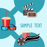 Roller film and movie stuff flat icon. Popcorn and drink. Film strip border. Cinema movie night icon in flat design style. Bright background.roller film and Royalty Free Stock Images