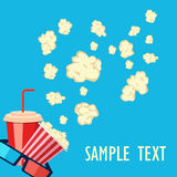 Roller film and movie stuff flat icon. Popcorn and drink. Film strip border. Cinema movie night icon in flat design style. Bright background.roller film and Royalty Free Stock Photos