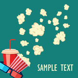 Roller film and movie stuff flat icon. Popcorn and drink. Film strip border. Cinema movie night icon in flat design style. Bright background.roller film and Royalty Free Stock Photography