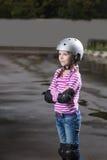 Roller girl in helmet Royalty Free Stock Images