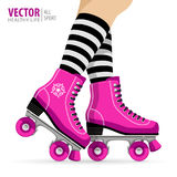 Roller girl. Quad skates classic. Roller skates. Sport background. Vector illustration. Royalty Free Stock Photography