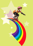 Roller-girl rushes along the rainbow Royalty Free Stock Images