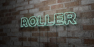 ROLLER - Glowing Neon Sign on stonework wall - 3D rendered royalty free stock illustration Royalty Free Stock Images