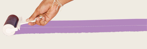 Roller and hand, Purple paint Stock Photo