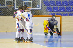 Roller Hockey goal celebration Stock Photos