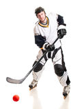 Roller Hockey Player. Studio shot over white royalty free stock photo