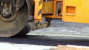 Roller Machine Asphalt Press Works stock video footage