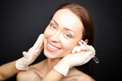 Roller microneedle mesotherapy Stock Images