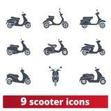 Roller, Moped-Vektor-Ikonen Satz Transportzeichen lizenzfreie abbildung