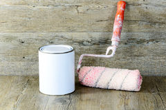 Roller and paint pot Stock Image