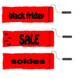 Roller paint with red paint Black Friday and sale. Vector Royalty Free Stock Image