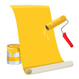 Roller with paint, roll of wallpaper Stock Photo
