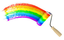 Roller paint wall color of rainbow Stock Images