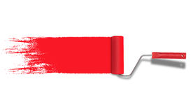 Roller painter with red paint stroke isolated on white background. Stock Images