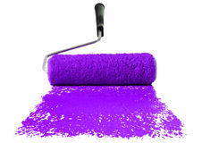 Roller With Purple Paint Stock Photo