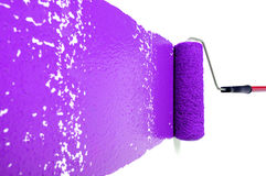 Roller With Purple Paint on White Wall Stock Photo