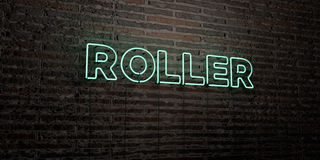 ROLLER -Realistic Neon Sign on Brick Wall background - 3D rendered royalty free stock image Royalty Free Stock Images
