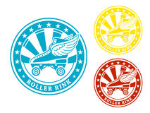 Roller rink label. Round roller rink label or sticker in colors isolated Royalty Free Stock Image