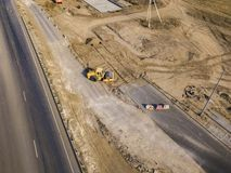 Roller road pavement machine flatten the earth f. Roller road pavement machine flatten the earth stock photography