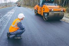 Roller road repair Stock Images