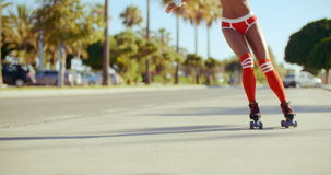 Roller Skate Girl Riding on the Street stock footage