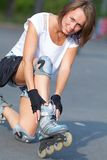 Roller skate girl skating. Royalty Free Stock Photo
