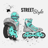Roller Skate And Grunge Texture Background. Vector Illustration. Stock Photos
